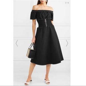 Maje off-the-shoulder shirred cotton-blend dress
